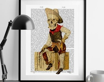 Skeleton Cowboy Print - Gothic art goth art print cool skeleton clint eastwood cowboy decor western decor gifts for mens gifts fathers day
