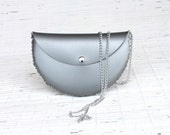 Crossbody clutch bag for her  Satin silver evening clutch Vegan clutch with crossbody chain Handmade unique personalized bag