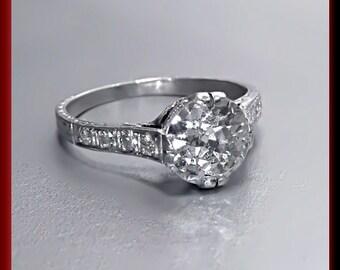 Antique Vintage Art Deco Antique Engagement Ring Old European Cut Diamond Platinum Wedding Ring