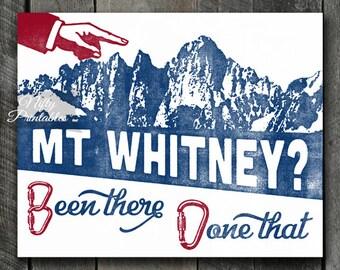 Mt Whitney Print - Printable Mount Whitney Poster - Mountain Climbing Art - Mountain Climber Gifts - Retro Mount Whitney Mountain Print