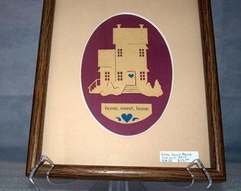 Paper cut art, framed, double mat