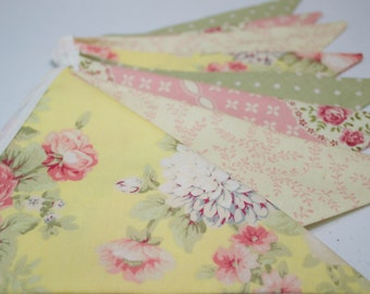 Vintage Style Floral Print Fabric Bunting Pennant Banner for Nursery, Rustic Wedding, Baby Shower, Tea Party, Photo Prop, Lemonade Stand