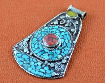 Tibetan Turquoise Mosaic Pendant with Tube Bail  One each