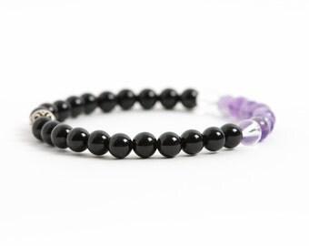 Black Tourmaline Gemstone Bracelet, Energy Bracelet, Amethyst, Clear Quartz, Gemstone Bracelet, Handmade Jewelry, Gemstone Jewelry