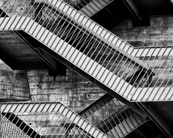 Black and White Stairs, Abstract, Patterns and Lines