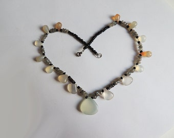 Necklace Chalcedony Labradorite Silver Clasp