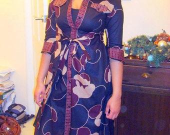 African floral print wrap shirt dress.