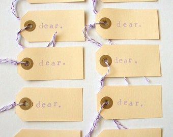 Dear Parcel Tags, Gift tags, set of 10 hand stamped manilla Dear parcel tag with bakers twine