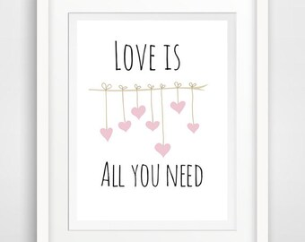 love is all you need, all you need print, all you need quote, all you need sign, love printable, motivational quote