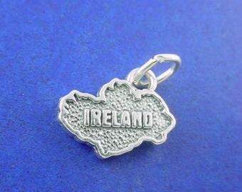 IRELAND Charm .925 Sterling Silver Country, Irish Pendant - f2-ie