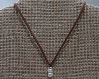 Handmade Freshwater Pearl Leather Necklace, Brown Leather Necklace