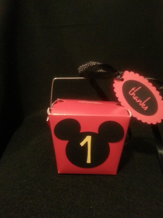 Red Chinese Take Out Favor Boxes : Mickey mouse inspired red chinese take out favor boxes