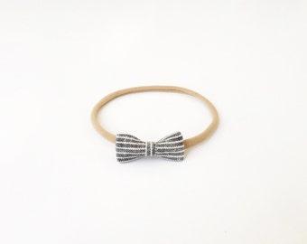 tiny midnight striped bow