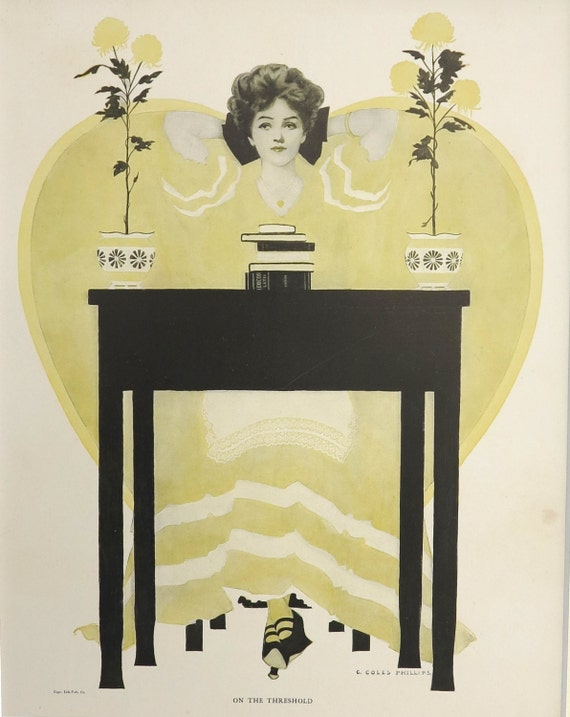 Antique Coles Phillips print, On the Threshold, beautiful young woman pondering her future, matted, 11 x 14 inches, 1911
