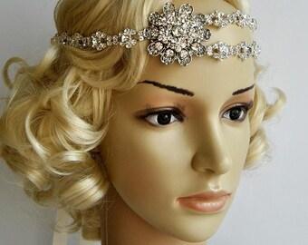 Gorgeous 1920's rhinestone flapper headband,1920s wedding Gatsby rhinestones flapper Headpiece headband, Bridal Rhinestone headpiece