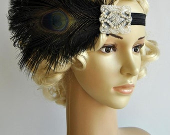 Black Flapper Feather Headband,The Great Gatsby headpiece, 1920s Flapper rhinestone Headband, Art Deco headband