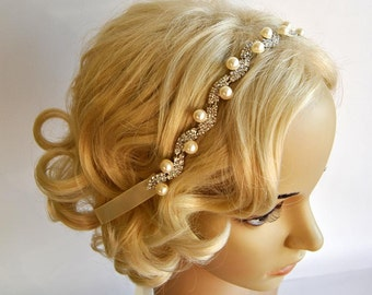 Pearls Rhinestone Headband, Wedding Crystal  Bridal bridesmaid Headband, Wedding Headpiece, Halo Bridal Headpiece, 1920s Flapper headband