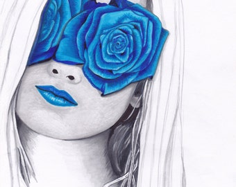 Flower Girl Blue Rose - from original marker drawing - NUMBERED PRINT OF 15