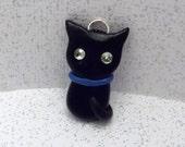 RESERVED - Cute Black Kitty Charm