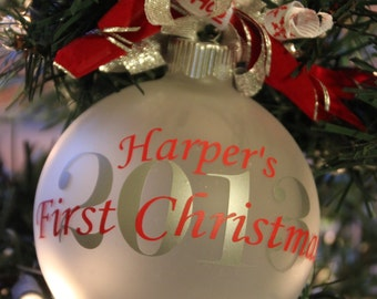 Monogram Baby's First Christmas Ornament Personalized Baby's First Christmas Ornament Tree Decoration Christmas 2016 Baby Shower Gift