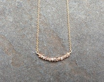 Champagne Zircon Bead Bar Necklace in 14K Gold-Fill, Sterling Silver, or 14K Rose Gold-Fill - 16 or 18 inches