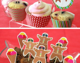 Christmas Cupcake Toppers - Christmas Party Decorations - Christmas Toppers - Christmas Birthday - Christmas In July (Instant Download)