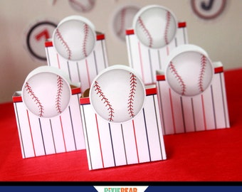 Baseball Favors - Baseball Box - Baseball Birthday Favor Box - Baseball Party Favor Box - Baseball Decorations - Template (Instant Download)