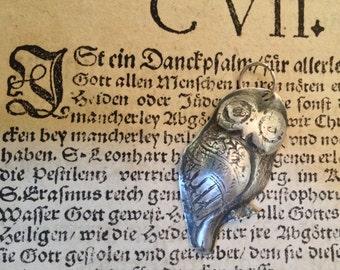 SALE! 15% OFF. Minerva Owl Roman Goddess of Wisdom Handmade in Antiqued Fine Silver