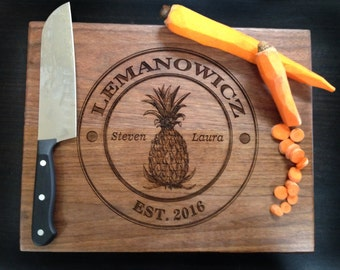 Personalized Cutting Board Pineapple Hospitality Design Custom Wedding Gift Bridal Shower Gift Anniversary/ Kitchen Decor Chopping Board