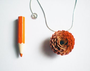 Teacher gifts Pencil shavings necklace. Original Wooden pendant.