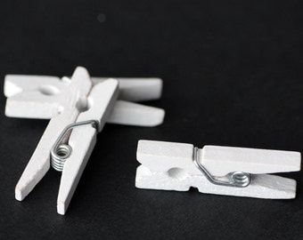 "1"" White Wood Clothespins - 20 Quantity"