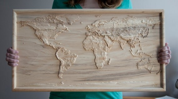 Accurate d topographic relief carving of the world by curae