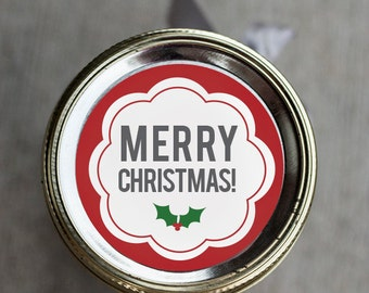 Printable Christmas mason jar label | canning jar label | Merry Christmas sticker | gift tag | Teacher gift | Cheap coworker gift |
