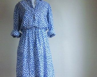 Vintage 70's 80's Cotton Blue and White Long Sleeve Collared CASI Dress