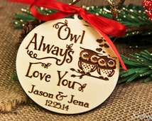 Personalized Wood Engraved Owl Christmas Ornament Monogram, Season Holiday Ornament ~ Gift for Couple, Mr and Mrs, I do, First met, Xmas