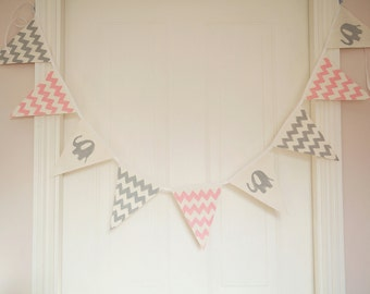 Pink and grey elephant nursery bunting, baby shower, chevron, banner