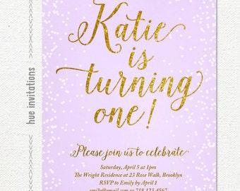 first birthday invitation, purple and gold glitter 1st birthday invitations for girl, lavender lilac pastel purple, digital file printable