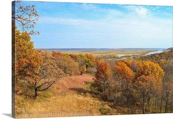 Canvas Gallery Wrap, Autumn Colors, Nature Photography, Fall Landscape, Iowa Fine Art, Blue Sky, Orange Trees, Prairie Photo, Canvas Picture