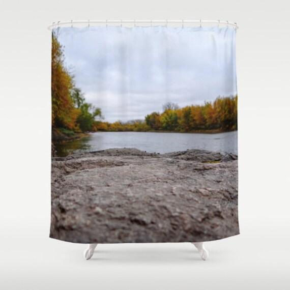 Shower Curtains, Fall Landscape, Minnesota Photo, Autumn Colors, Lake Photograph, Unique Perspective, Bath Decor, Bathroom Art, Midwest