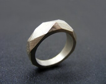 Faceted ring Geometric ring  Sterling silver wedding  Ring