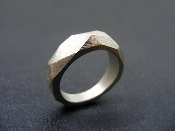 Items similar to faceted ring geometric ring sterling for Geometric wedding ring