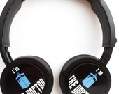 TARDIS WHO HEADPHONES inspired pc geek music doctor sc fi Matt Smith David Tennant pc