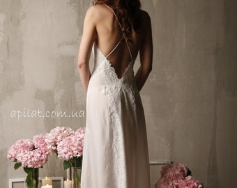 Long Silk Bridal Nightgown With Open Back and Lace F12(Lingerie, Nightdress), Bridal Lingerie, Wedding Lingerie, Honeymoon
