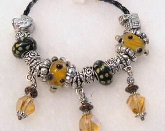 439 - Black and Amber Beaded Bracelet
