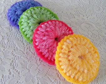 Nylon Pot Scrubber, 4 Colorful Dish scrubber Crocheted Scrubbies, Double Layered 4 1/2 - 5 inches diameter, Gift For Her
