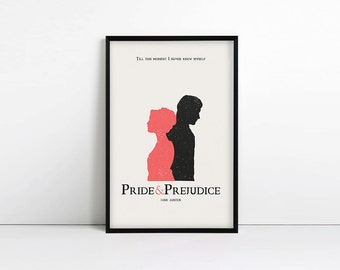 Pride and Prejudice poster, jane austen quote, typography poster