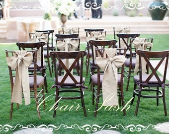 Burlap Chair Sash - Chair Swag - Burlap Bow - Wedding Chair Sash - Rustic Wedding Chair Sash - Burlap Chair Sash - Set of 15