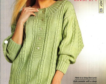 """Knitting pattern - Woman's """"Long and Lean"""" tunic-style sweater - Instant download"""