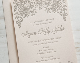 Floral Shower | Letterpress Bridal Shower Invitation SAMPLE