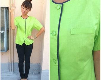 1990 Vintage Blouse/ Apple Green Blouse/ Small Blouse/ Medium Blouse/ 90's Blouse/ Padded Shoulder Blouse/ Neon Green/ Work Office Blouse